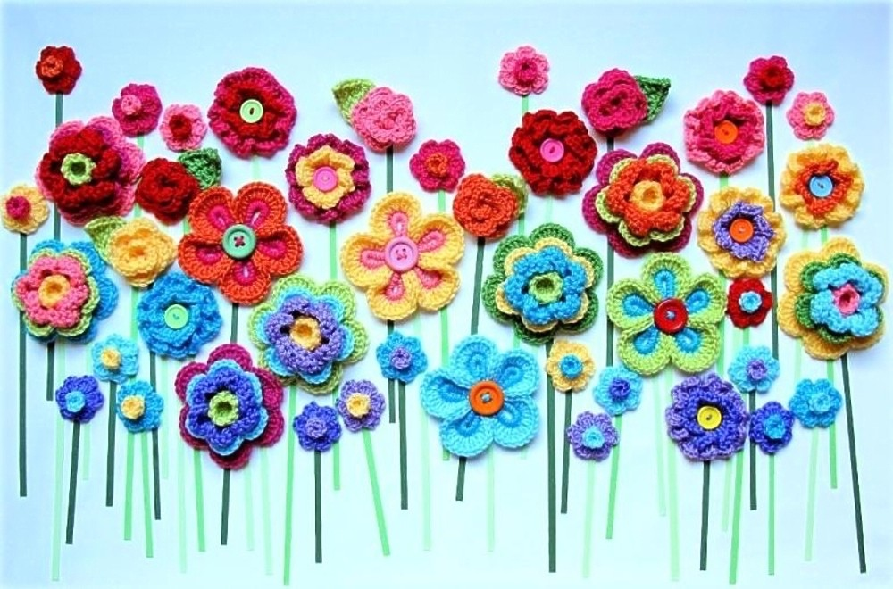 Открытка с цветами вязанные крючком, открытки успением